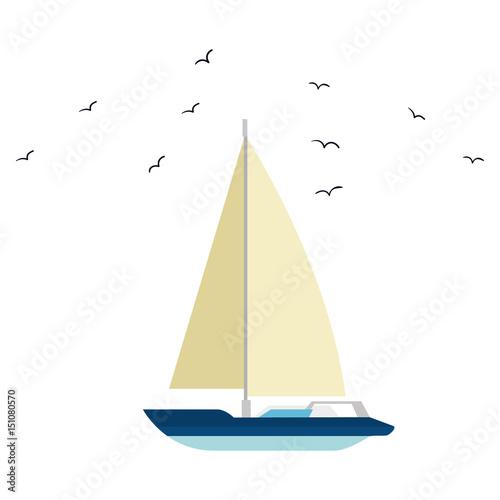sailboat icon over white background. vector illustration Fototapeta