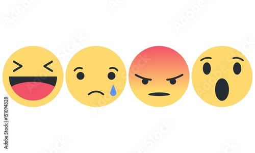 Photo  Emoji Set - Lachender Smiley, trauriger Smiley, wütender Smiley, erstaunter Smil