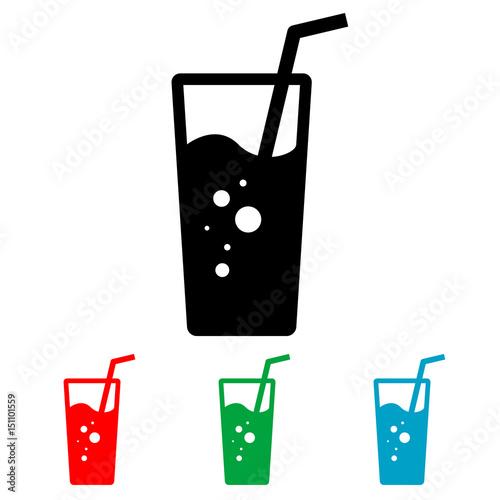 Fotografía  Icono plano vaso de refresco varios colores