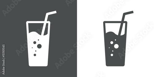 Fotografía Icono plano vaso de refresco gris y blanco
