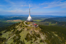 Aerial View Of Jested Tower On The Top Of Jested Mountain 1 012 M (3,320 Ft). Famous Tourist Attraction Near Liberec In Czech Republic, Europe. TV Broadcast Tower Was Built Between 1963 And 1968.