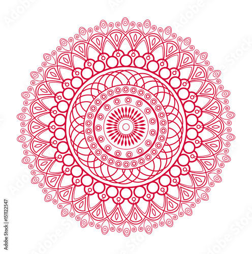 Fotografia  Vector illustration of a red mandala, mandala vettoriale