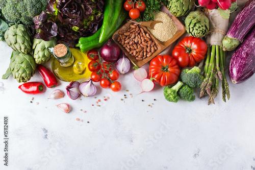 Valokuva  Assortment of fresh organic farmer market vegetables