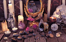 Mystic Still Life With Coffee Reading, Magic Mirror Skull, Burning Candles And Stone Runes