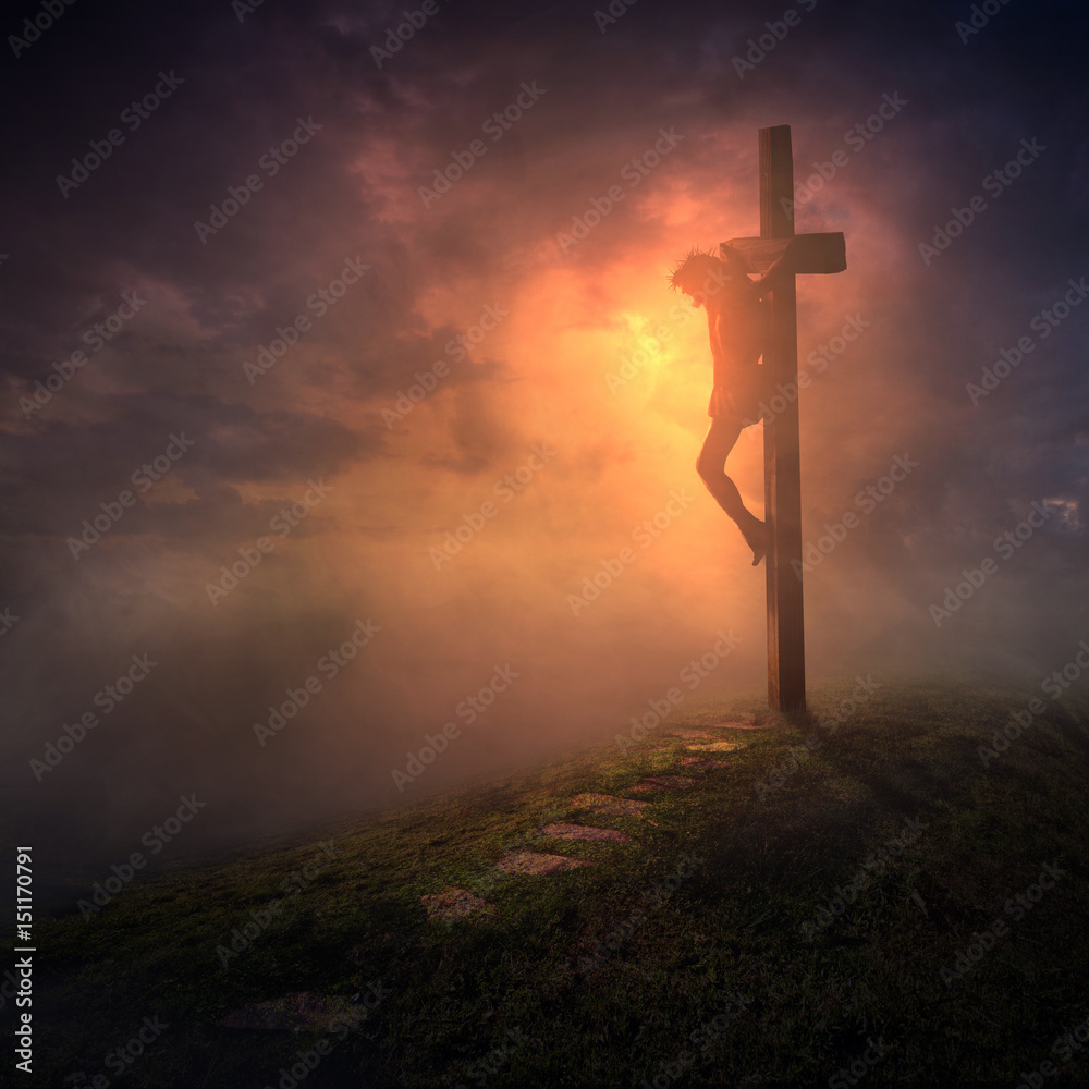 Fototapety, obrazy: The cross with dark skies
