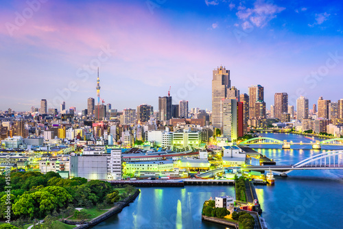 Foto auf AluDibond Tokio Tokyo, Japan Sumida River Skyline