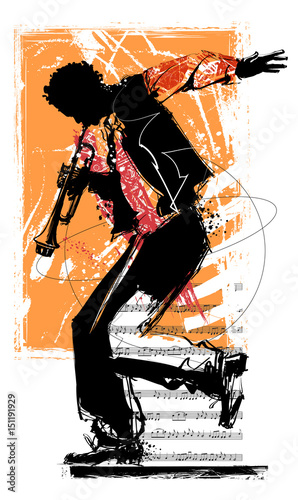 Deurstickers Art Studio Jazz trumpet player
