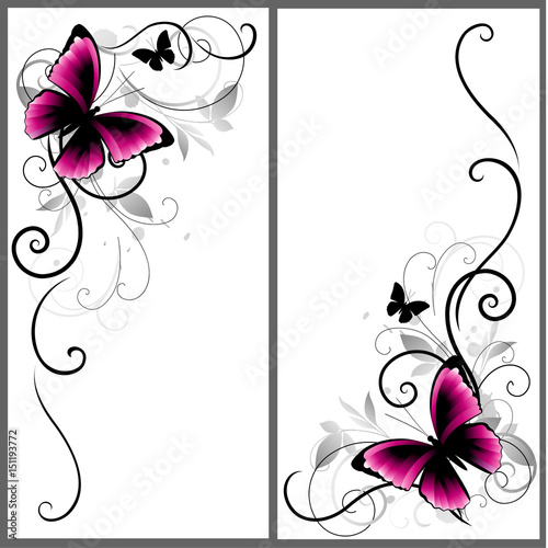 Foto op Aluminium Vlinders in Grunge Set of beautiful corners with butterfly and decorative lines. Vector ornament for page decor