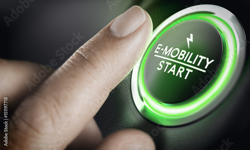 E-Mobility, Green Car Start Button фототапет