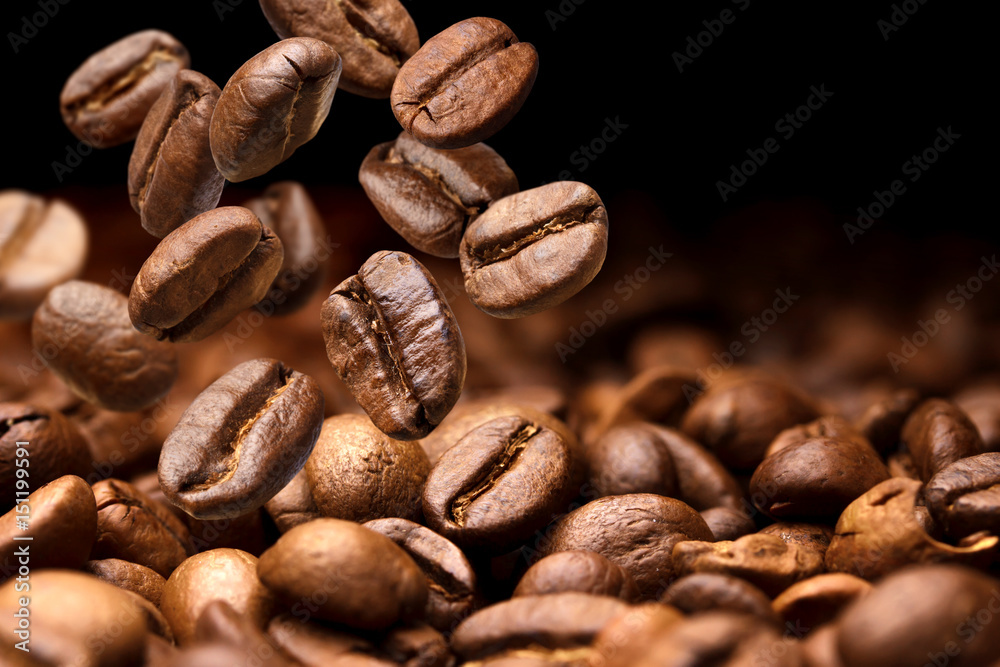 Fototapety, obrazy: Falling coffee beans. Dark background with copy space, close-up