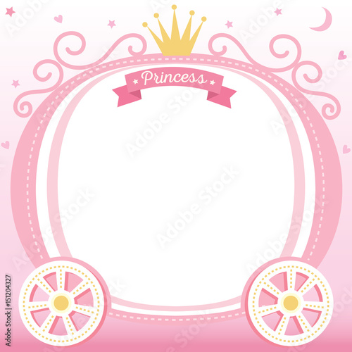 Illustration Vector Of Cute Princess Cart Decorated With