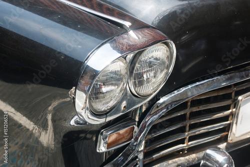 Canvas Prints Vintage cars Antique Black car front lights