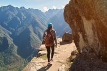 Woman Walk On Narrow Mountain ...