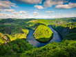 Sunny view of Vltava river horseshoe shape meander from Maj viewpoint.