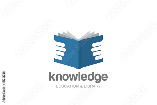 open book in hands logo design vector template negative space style