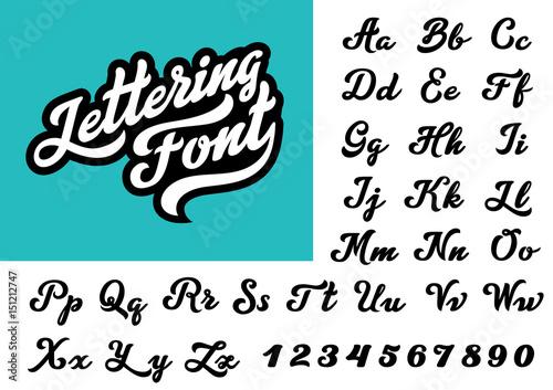 Carta da parati Calligraphic Vintage Handwritten vector Font for Lettering