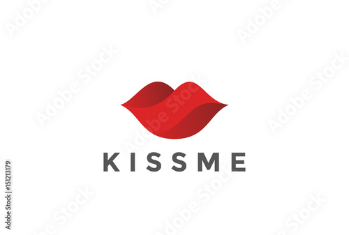 Photographie Red Lips Logo design vector template