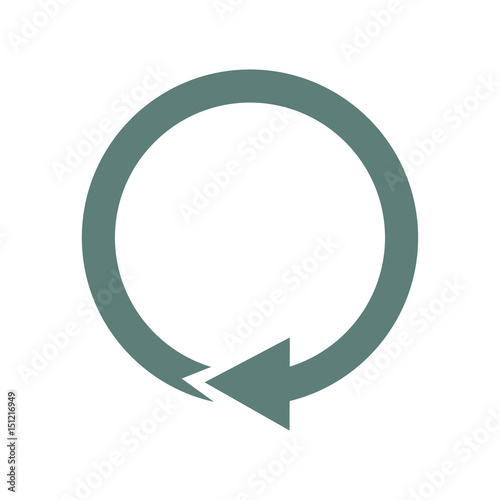 Icono plano flecha circular gris en fondo blanco Canvas Print