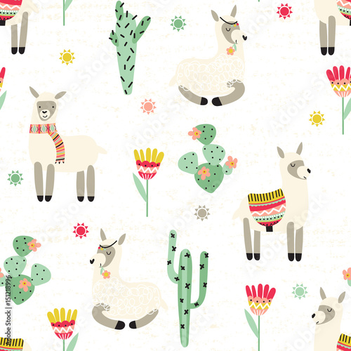 Photo Stands Illustrations Seamless pattern with lama and cactus