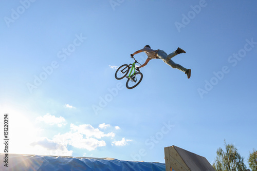 Fotografie, Obraz  Young cyclist jumps aeromat in the event of the Perm Region jump aeromat, beauti