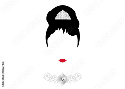 Fotografie, Tablou  portrait retrò woman, diva with Pearl jewelry, minimal Audrey vector illustratio