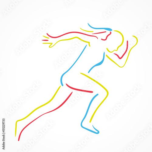 Fotobehang Draw silhouette femme course