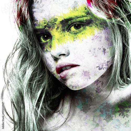 Obrazy wieloczęściowe twarz dziewczyny w kolorach na białym tle