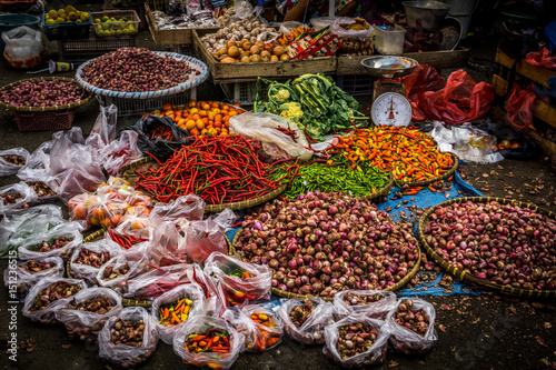 Various kind of spices with beautiful colour on sale on the ground at traditional market photo taken in Bogor Indonesia