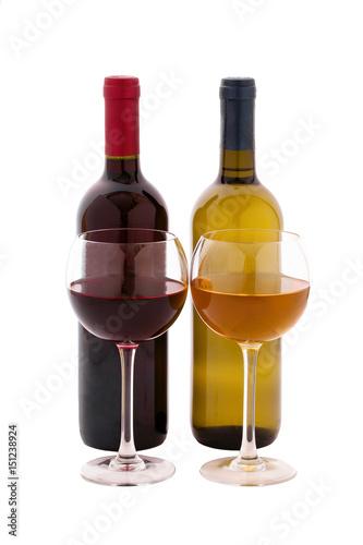 Obraz na plátně  Red and white Wine bottle and glasses on white background