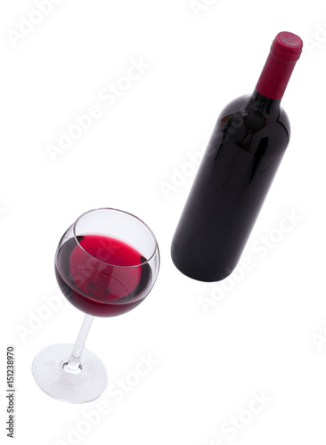 Fotografie, Obraz Red Wine bottle and glass on white background