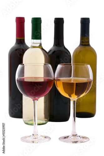 Fototapeta Red and white Wine bottle and glasses on white background