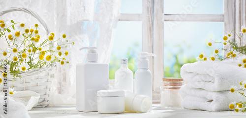 Fotografie, Obraz  Towel and cosmetic dispensers