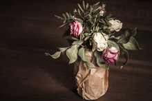 Bouquet Of Dried Red And White Roses, Low Key