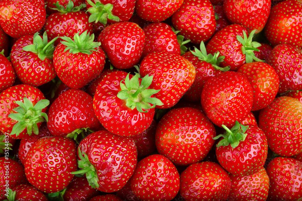 Fototapety, obrazy: Strawberry. Full frame strawberry background.  Fresh organic berries