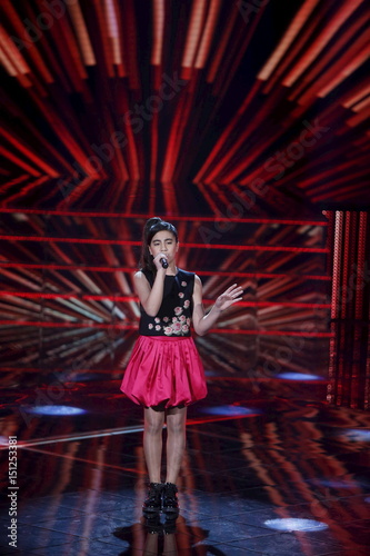leen al hayek sings during the voice kids singing competition in