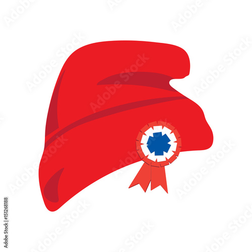 Fotografija Phrygian cap also known as red liberty hat with red white and blue cockade