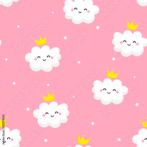 Vászonkép  Seamless pattern with cute clouds princess and stars on pink background
