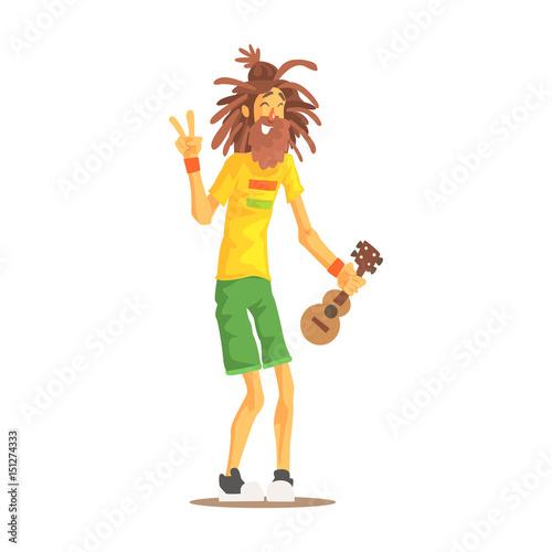 Photo  Happy rastafarian guy with dreadlocks and little guitar