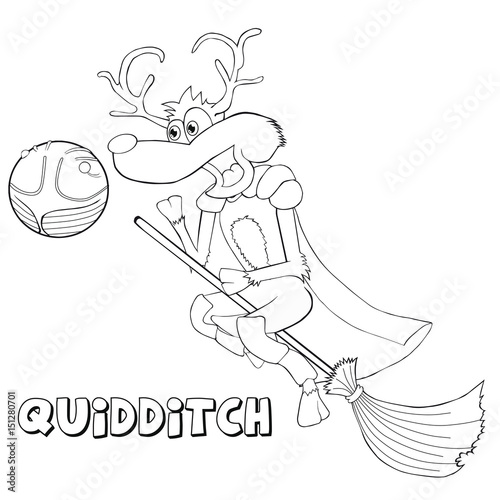 Coloring book deer plays quidditch Wallpaper Mural