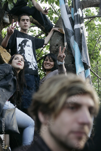 Supporters of the Frente para la Victoria Party listen to a speech