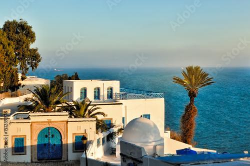 Staande foto Tunesië Sunset view of Sidi Bou Said, Africa, North Africa, Tunisia, Sidi Bou Said