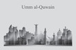 Umm al-Quwain city skyline silhouette in grayscale