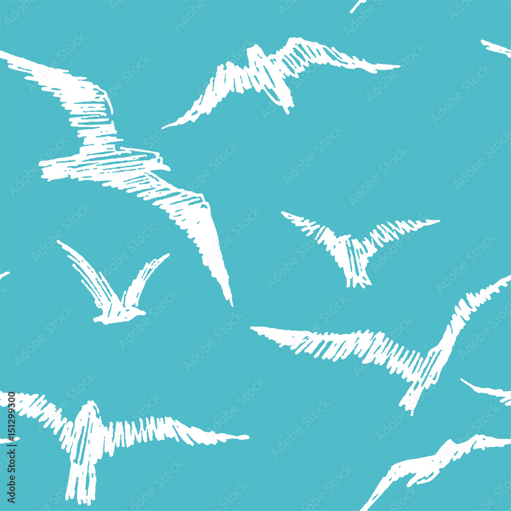 Seagulls. Vector seamless pattern with birds in the sky. Hand drawn illustration with white gulls isolated on blue background