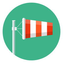 Airport Windsock Icon.Wind Sock Flat Icon Vector