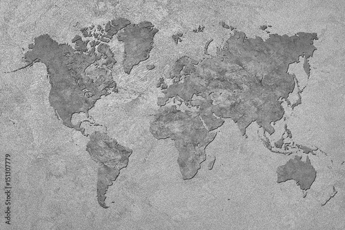 Foto op Canvas Wereldkaart Grunge Map of the World. Vintage style.