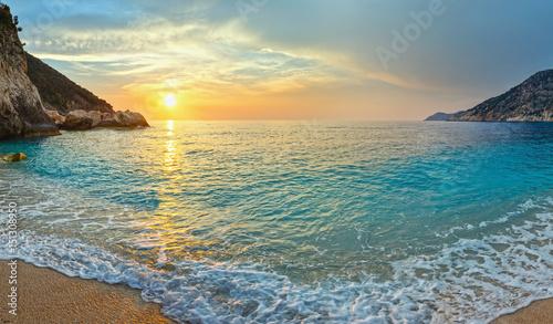 Foto op Canvas Zee zonsondergang Sunset Myrtos Beach (Greece, Kefalonia, Ionian Sea).
