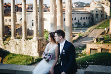 Bride And Groom Wedding Poses In Front Of Roman Forum, Rome, Italy
