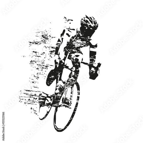 jazda-na-rowerze-tematu-porysowana-wektorowa-sylwetka-drogowy-cyklista