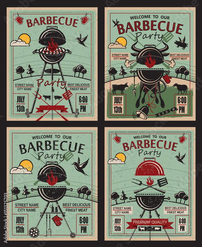 collection of invitation card on barbecue party © Alexkava