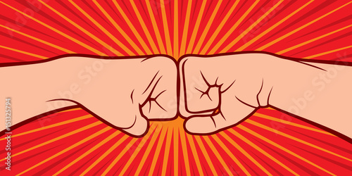 two fists punching each other vector illustration Wallpaper Mural